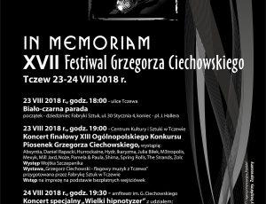 IN MEMORIAM XVII Festiwal Grzegorza Ciechowskiego – PLAKAT